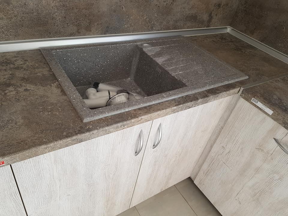 Кухненска мивка модел 2122 , цвят сиво с точки сифон ф90