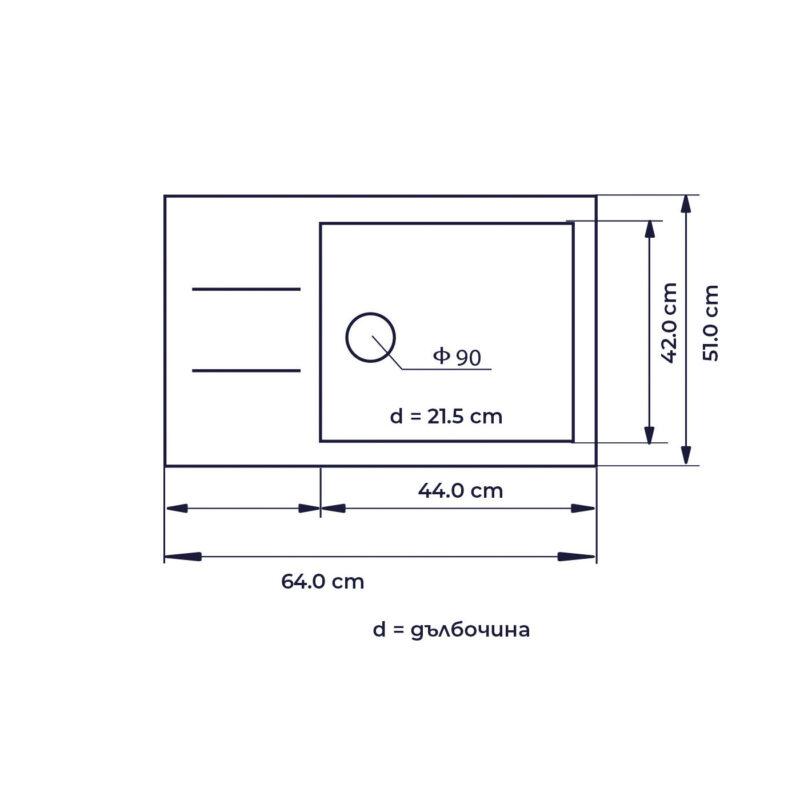 чертеж на кухненска мивка модел 2120